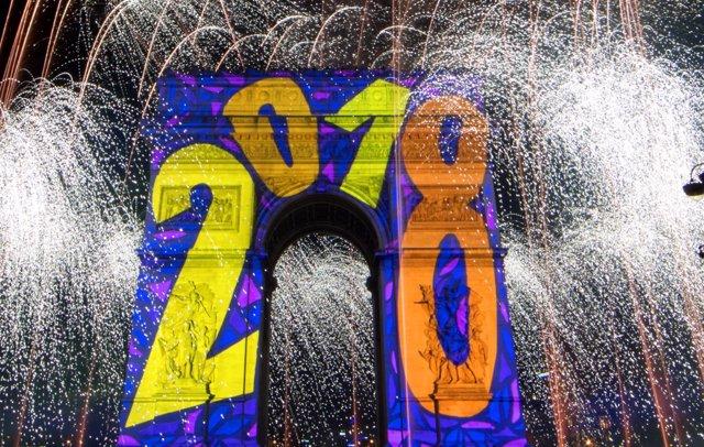Celebración de año nuevo en París 2018