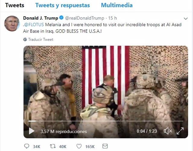 Captura del vídeo difundido por Trump en su cuenta de Twitter