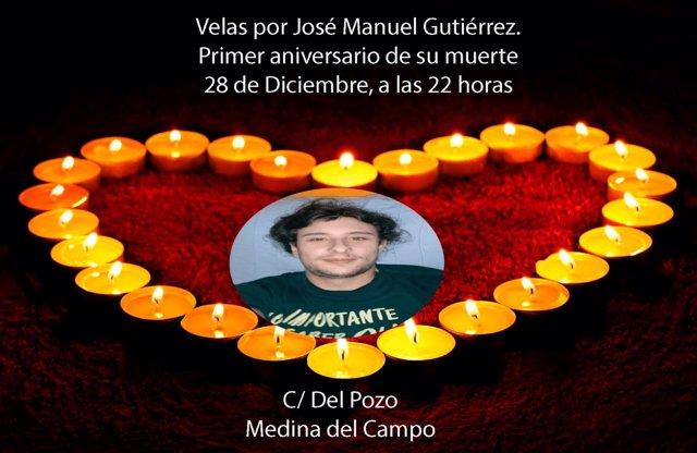 Cartel anunciador del homenaje póstumo al fallecido.
