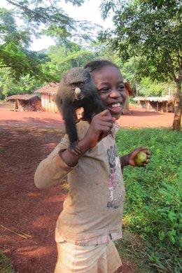 Niño con mono de nariz grande (Cercopithecus nictitans) en Camerún