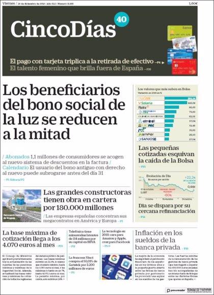 Las portadas de los periódicos económicos de hoy, viernes 28 de diciembre