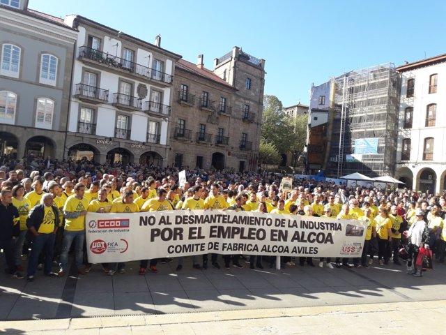 Manifestación trabajadores Alcoa Avilés