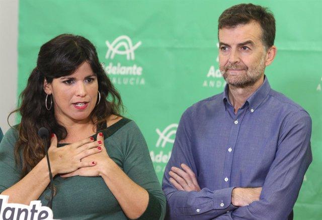 Teresa Rodríguez y Antonio Maíllo, en rueda de prensa este miércoles
