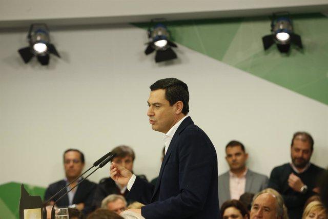 Juanma Moreno interviene ante la Junta Directiva del PP-A