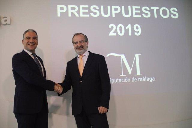 Elías Bendodo presidente de la Diputación de Málaga y Gonzalo Sichar Cs 2019