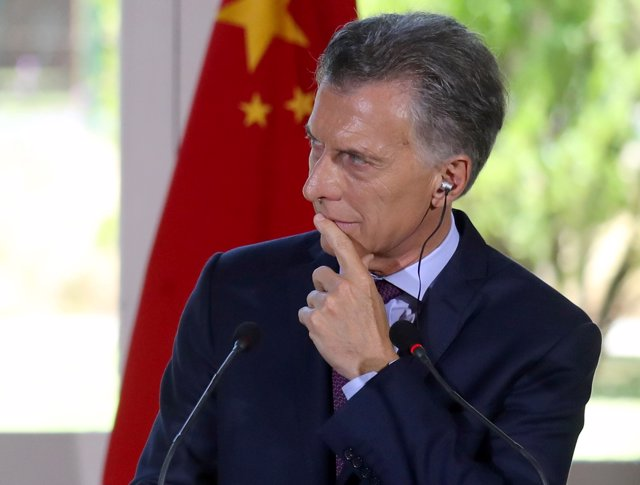 Argentina's President Mauricio Macri attends a joint news conference with his Ch