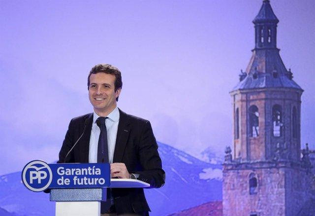El presidente del PP, Pablo Casado, presenta los candidatos del PP en La Rioja