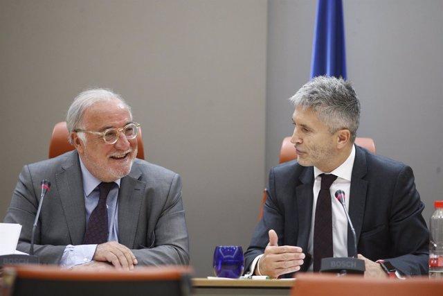 Pere Navarro y Fernando Grande-Marlaska en rueda de prensa en la DGT