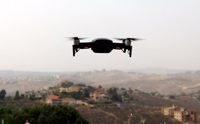 A drone flies in Nabatieh area, Lebanon October 25, 2018. REUTERS/ Jamal Saidi -