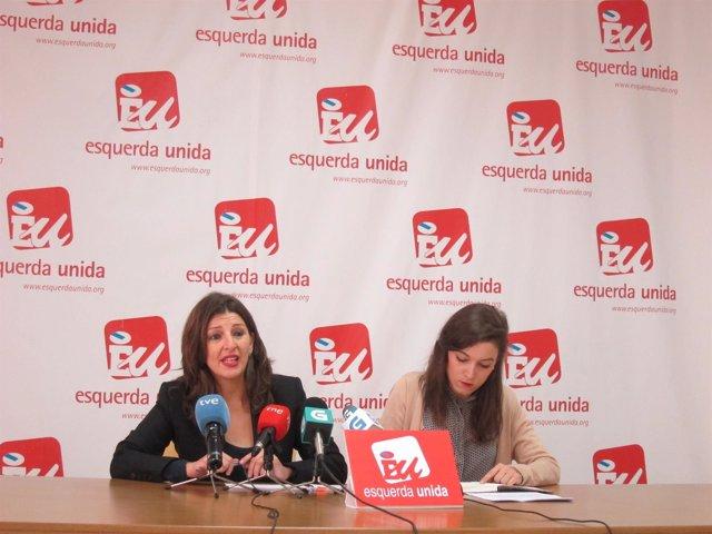 Yolanda Díaz y Eva Solla, de Esquerda Unida, en rueda de prensa