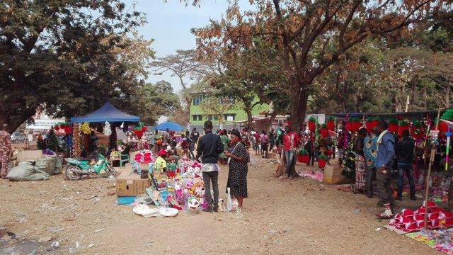 Mercado navideño en Bangui
