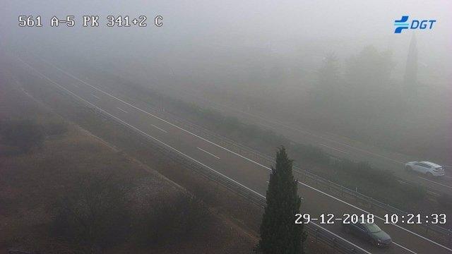 Niebla en la intersección de la A-66 y la A-5 en Mérida