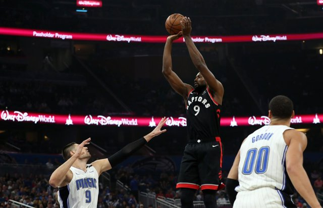 Dec 28, 2018; Orlando, FL, USA; Toronto Raptors forward Serge Ibaka (9) shoots