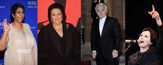 ARETHA FRANKLIN, MONTSERRAT CABALLÉ, CHARLES AZNAVOUR Y DOLORES ORIORDAN