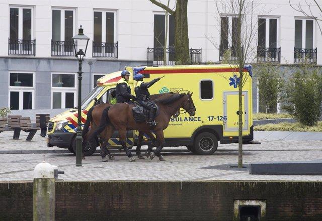 Policías holandeses a caballo y ambulancia