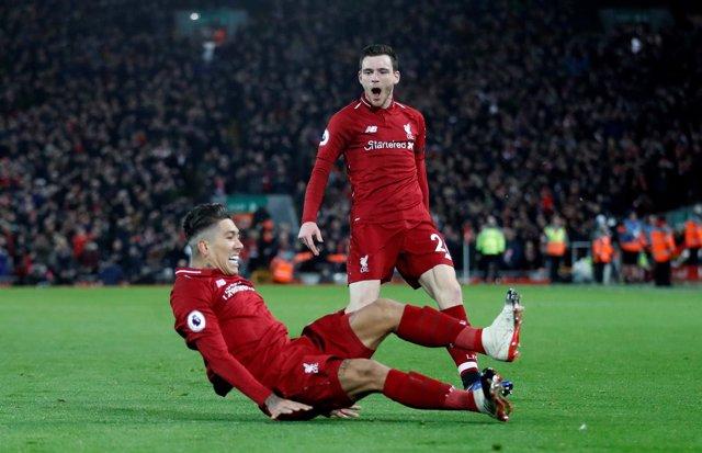 Firmino celebra un gol con el Liverpool