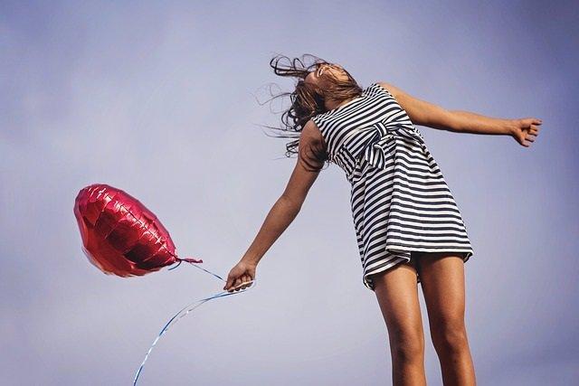 Alegría, felicidad, sana, globo