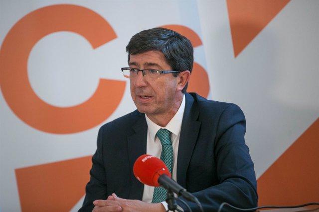 Juan Marín, líder de Cs en Andalucía, durante la entrevista con Europa Press
