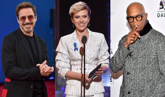 Robert Downey Jr., Scarlett Johansson y Samuel L. Jackson