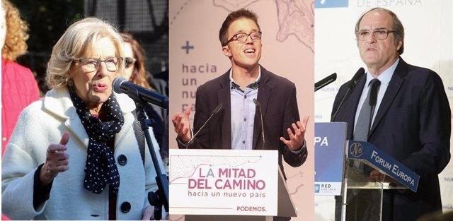 Montaje de Manuela Carmena, Íñigo Errejón y Ángel Gabilondo