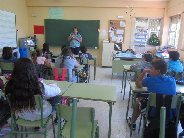 Escolares en el aula de un colegio de Mérida