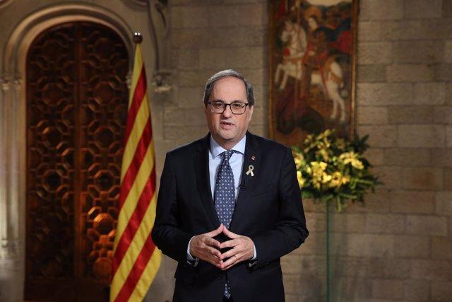 El presidente de la Generalitat, Quim Torra, en el discurso de fin de año