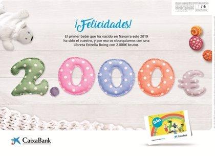 CaixaBank entregará al primer bebé de 2019 en Navarra una Libreta Estrella con 2.000 euros