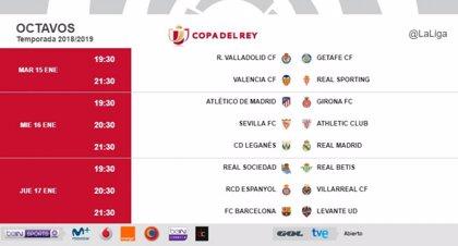 El Real Madrid visita Butarque el miércoles 16 a las 21.30 y el Barça recibe el jueves 17 al Levante