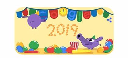 Google felicita la llegada de 2019 con una animada fiesta en su 'doodle'