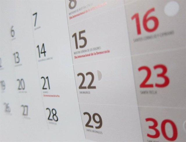 Calendario laboral, fiestas, festivos, día laborable, almanaque