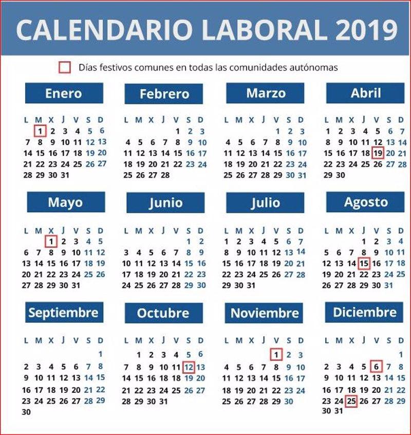 Calendario Laboral Espana 2019.Calendario Laboral De 2019 12 Dias Festivos Solo 8 Comunes En Toda