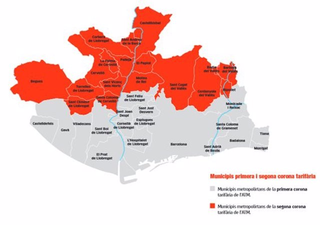 Nueva tarifa metropolitana de una zona en la metrópolis de Barcelona
