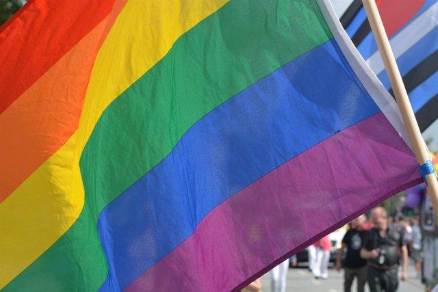 Bandera arcoíris del colectivo LGTBI en una manifestación