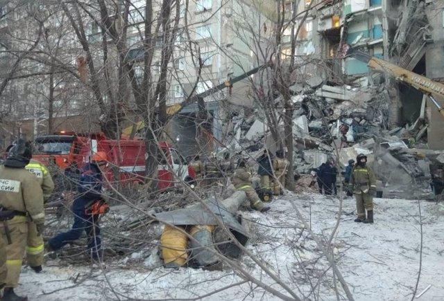 Edificio de viviendas derrumbado en Magnitogorsk