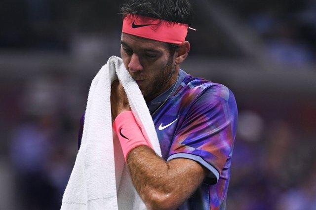Juan Martín del Potro en su partido ante Federer