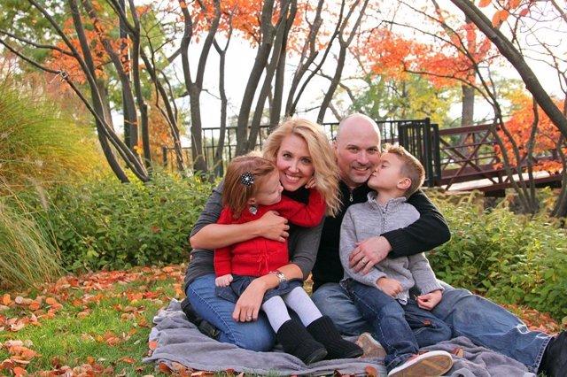Familia, hijos, picnic, feliz