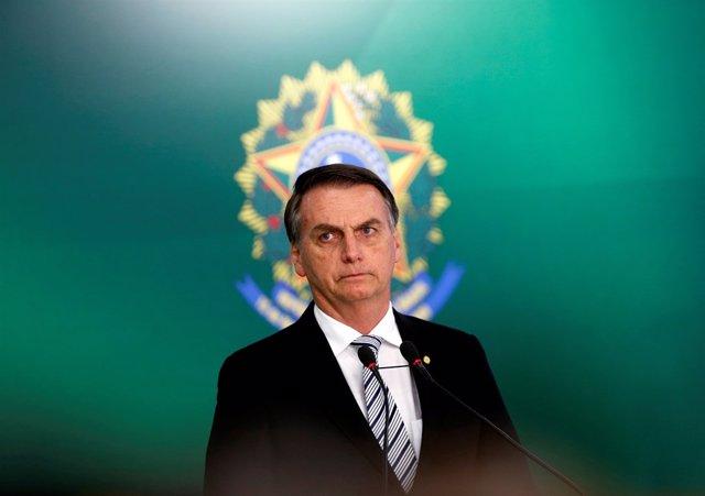 Jair Bolsonaro, en una rueda de prensa en Brasilia