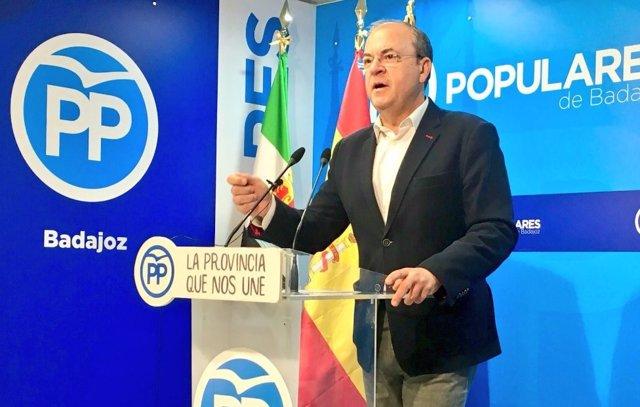 Monago en rueda de prensa este miércoles en Badajoz