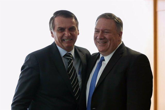 Reunión entre Jair Bolsonaro y Mike Pompeo en Brasilia (Brasil)