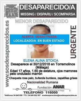 Cartel sobre la desaparición de la menor en Torremolinos