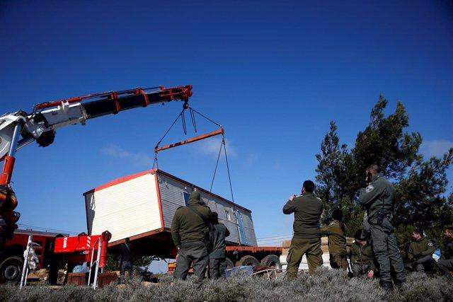 Evacuación de un asentamiento ilegal en Cisjordania