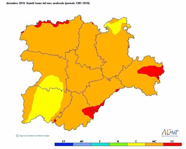 Mapa descriptivo de las temperaturas de diciembre en CyL