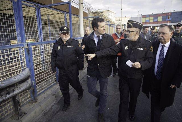 El presidente del PP, Pablo Casado,  visita la frontera del Tarajal en Ceuta