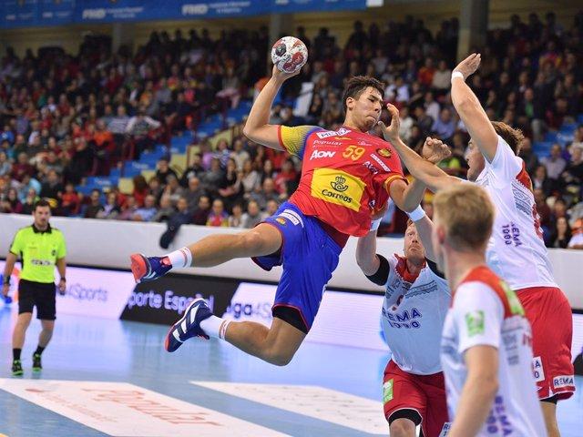 Dani Dujshebaev, en un partido de la selección española ante Noruega