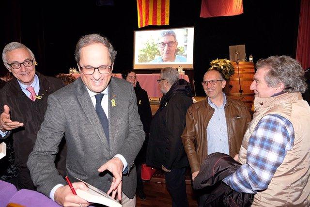El presidente de la Generalitat, Quim Torra, en Falset (Tarragona)