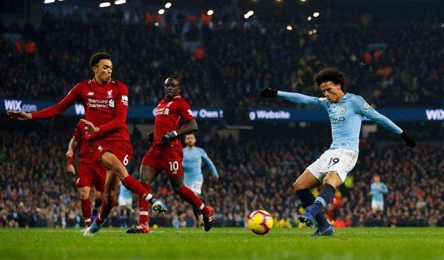 El mediapunta alemán Leroy Sané, en un partido del Manchester City