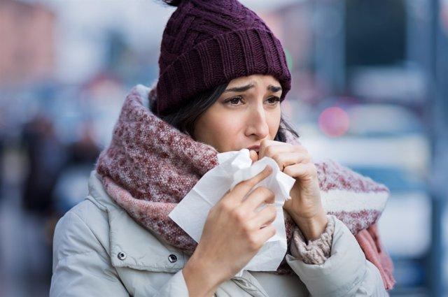 Frío, invierno, bufanda, tos, resfriado