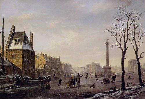 Canal helado en Rotterdam en 1825