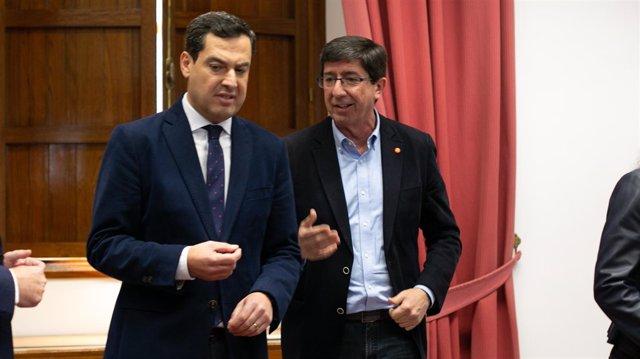Juanma Moreno y JUan Marín, durante una reunión el pasado mes de diciembre