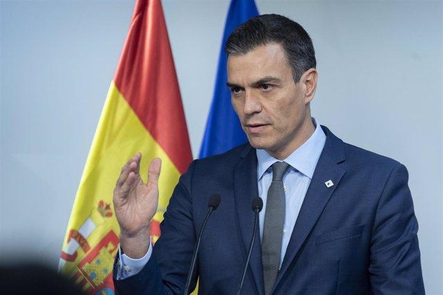 Pedro Sánchez  en rueda de prensa en Bruselas